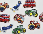 Red Tractor, Red Bus, Green Tractor, Aeroplane, and Fire Engine Transport Motifs/Patches -- High Quality iron on patch
