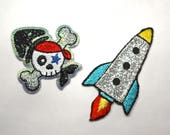 Iron on Embroidered Rocket or Skull and Crossbones Motifs/Patches/Appliqué Patch with Glitter Sparkle Detail