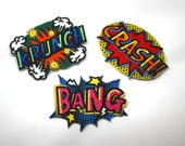 CRASH, BANG, KRUNCH motifs - Cartoon Super Hero Applique Patches, Embroidered Embellishments, Bright Pop Art Patch - Kids patches