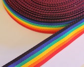 Rainbow Strap 38mm wide super strong polypropylene strapping/webbing/bag strap/belt - multi coloured