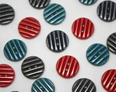Shimmery Two Hole Ridge Button -  Lightweight Plastic Button in Various Colours - Teal, Red, Graphite, Navy Blue 1.7cm Wide