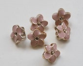 Pair of Delicate Flower Buttons - Lightweight Enamelled Plastic with Shank - Blush Pink or Ivory -  10mm