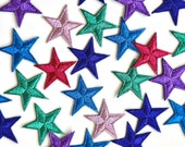 Metallic Star Patches - Iron on Embroidered Star Appliqué Motifs - 3cm - Lots of Colours!