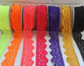 Bollywood Lace, 55mm wide, in Neon Coral, Neon Orange, Neon Yellow, Bright Fuchsia, Ultra Violet, Gold or Black