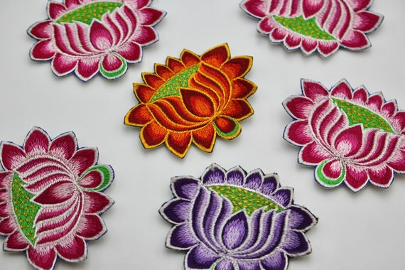 Lotus Om 6cm * Sew On Patch Pink Nepalese Made