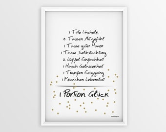 Poster luck, Minmalistisch, typo, poster for friends, calligraphy, graphic design, poster recipe, Deco living room, Christmas