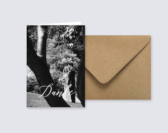 Wedding, thank you, photo, Thanksgiving card, photo, folding card, minimalist, personalized, kraft paper, graphic design