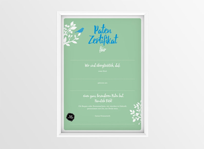 Godfather Certificate Personalized Godfather Boys A4 image 0