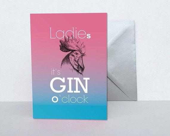 Karte Gin rosa pink blau Weihnachten Neujahr Silvester | Etsy
