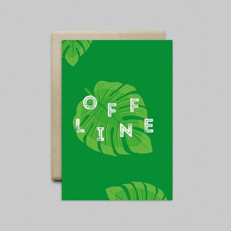 Greeting card birthday offline minimalist Monstera green image 0