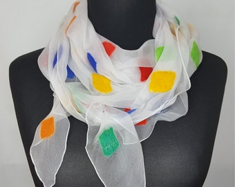White nuno felted triangular scarf, chiffon silk scarf with colorful squares