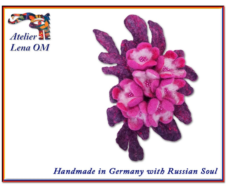 Handmade magenta and pink brooch with flowers felted wool image 0