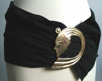 Wide belt, face belt, fabric belt, black belt, vintage belt, 70's belt