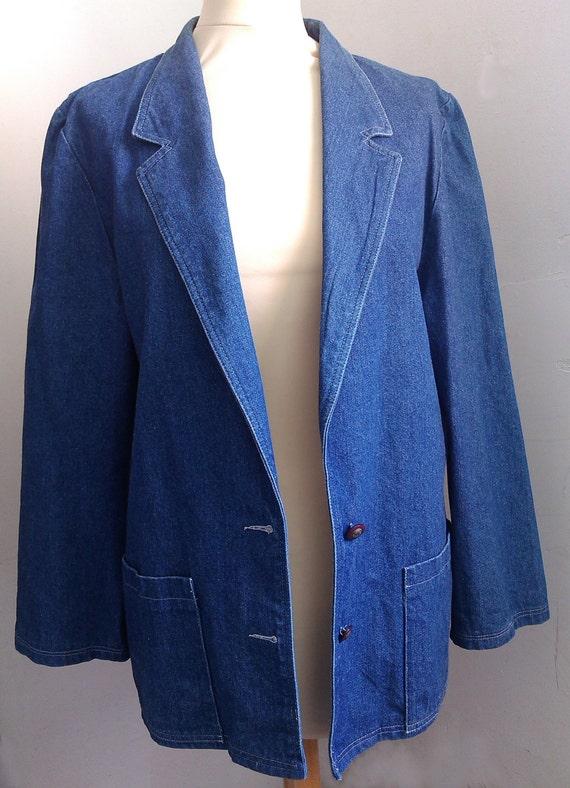 veste large en jean bleu taille 42 vintage etsy. Black Bedroom Furniture Sets. Home Design Ideas
