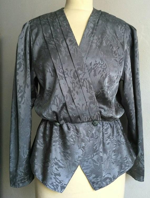 Grey blouse, wrap blouse, 80's wrap blouse,  wrap