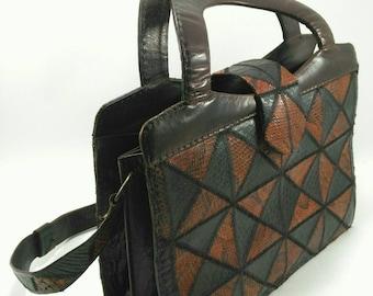 Black and Brown snakeskin and leather Vintage handbag