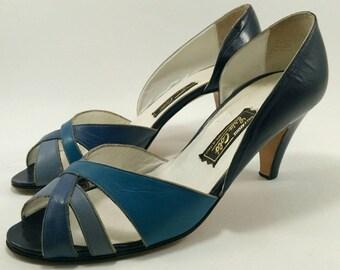 Blue peep toe pumps, blue shades heels, peep toe heels, vintage blue heels
