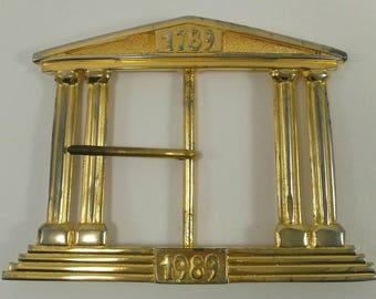 Vintage belt buckle, Bicentennial Revolution, golden belt buckle, greek temple