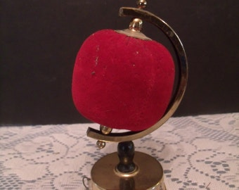 Vintage world Globe Pin cushion Holder with Tape Messure (#537/19)