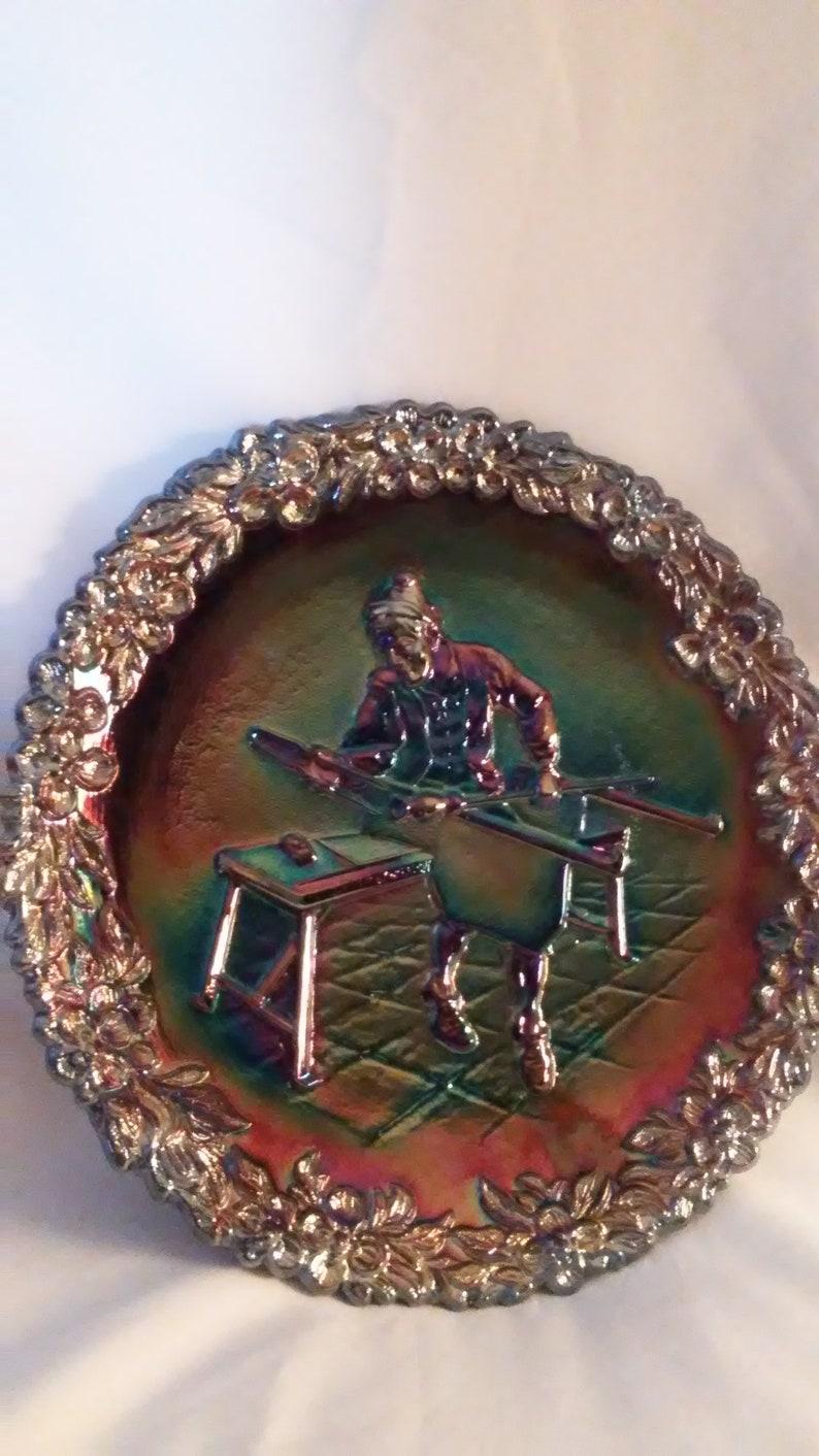 103#3018 Vintage Fenton Glass Plate,