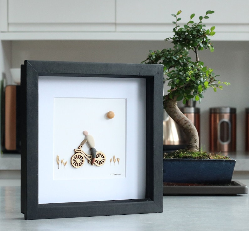 Fathers day gift Anniversary gift Pebble art cyclist Retirement gift Person riding a bike Personalised Pebble Art