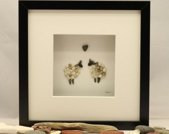 Pebble art picture, two sheep Engagement, Valentines.