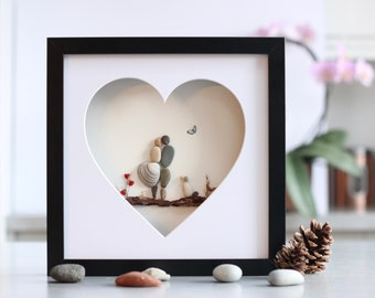 Personalised pebble art picture of a couple and a dog, Wedding framed Pebble Art, Wedding Pebble Picture, Anniversary gift, Engagement gift