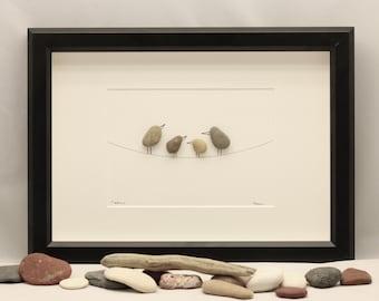 Pebble art picture Birds, pebble art sale, pebble art birds, pebble art family 4, pebble art family of four.