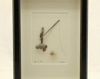 Pebble art fisherman, unique gift, fathers day gift, Gift for him, home decor
