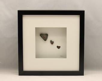 Pebble art love hearts, Unique gift, Luv, Friends.