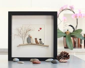 Pebble art couple with 2 dogs, pebble art family of 2 with dogs, Valentine's Gift, pebble art dogs, mothers day gift, pebble art couple