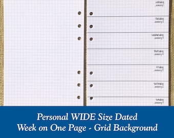 Personal WIDE Size Grid Week on One Page Planner Inserts / Choose Regular or Round Corner