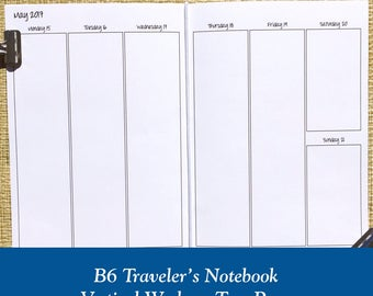 B6 Size Vertical Week on Two Page Traveler's Notebook Insert - Choose Dated or Undated