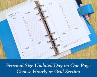UNDATED Personal Size Day On One Page Planner Inserts - 30 Day Supply