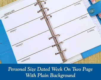 Personal Size 2018-2019 Plain Week On Two Page Planner Inserts / Choose Regular or Round Corner