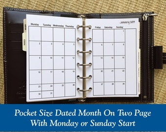 Printed Pocket Size Month On Two Page Planner Inserts
