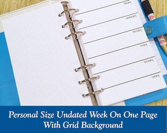 UNDATED Personal Size Grid Week on One Page Planner Inserts - 6 Month Supply