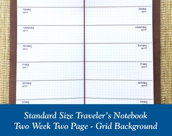 Standard Size Grid Two Week on Two Page Traveler's Notebook Insert - Choose Dated or Undated