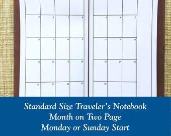 Standard Size Month on Two Page Traveler's Notebook Insert - Choose Dated or Undated