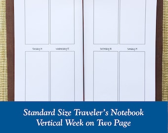 Standard Size Vertical Week on Two Page Traveler's Notebook Insert - Choose Dated or Undated