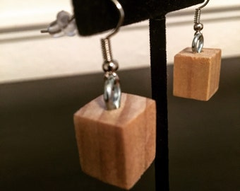 Wood earrings wood cube earrings geometric earrings wood jewelry wooden earrings wood cube earrings natural wood
