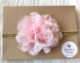 Hot Pink birthday Headband Boho Headband Gold Headband Pink and Gold Headband hot pink and Gold Headband hot pink baby Headband