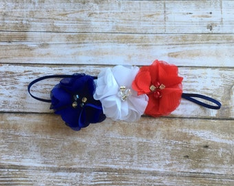 READY TO SHIP 4th of July Headband/Baby Headband/Patriotic Headband/Newborn Headband/Fourth of July/Red White and Blue/Infant Headband/Baby