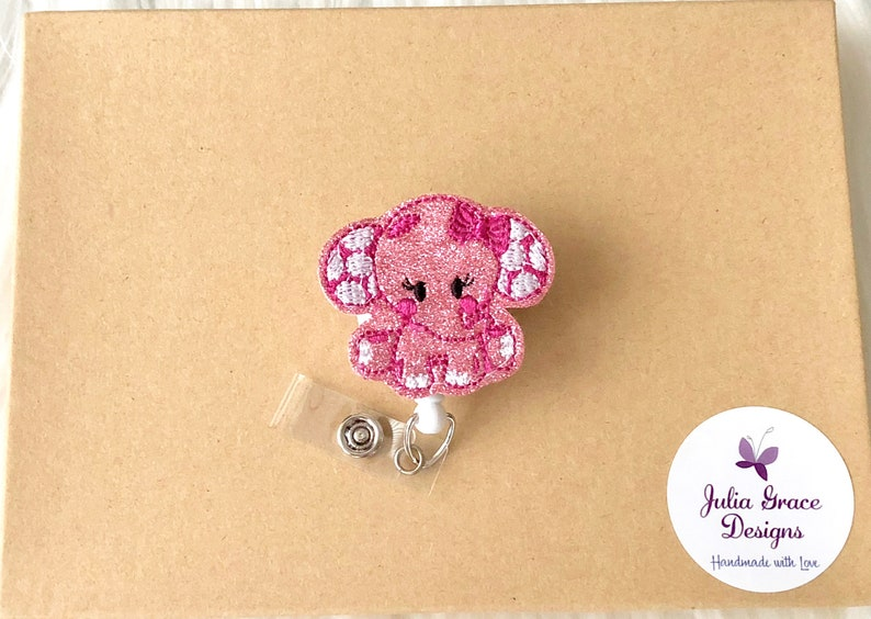 RN Badge Reel Badge Reel Nurse Badge Reel Badge Holder Pink Elephant Badge Reel Badge ID Holder Glitter Badge Reel Retractable Badge