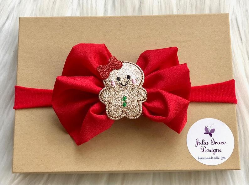Gingerbread bow candy cane bow Christmas headband alligator clip Christmas hair bow baby girl headband infant bow nylon baby headband