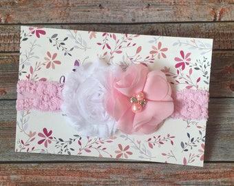 Pink Headband, Pink Baby Headband, Light Pink Headband, Baby Headband, Newborn Headband, Infant Headband, Lace Headband, Baby Girl Headband