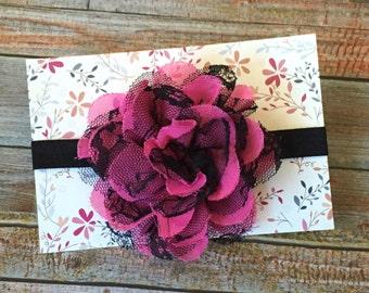 Hot Pink Headband, Bright Pink Headband, Hot Pink and Black, Baby Headband, Infant Headband, Newborn Headband, Baby Girl Headband, Headband