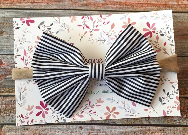 Black /& White HeadbandBlack and White Baby HeadbandStriped HeadbandNylon Baby HeadbandNylon Bow HeadbandBaby HeadbandInfant Headband
