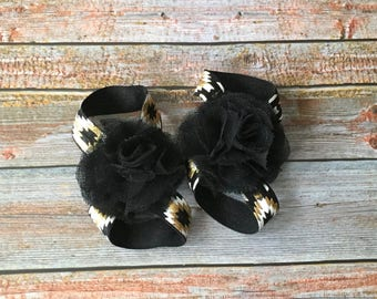 Black & Gold Barefoot Sandals, Baby Barefoot Sandal, Black and Gold, Newborn Shoe, Newborn Sandal, Baby Shoe, Baby Sandal, Baby Girl Shoe