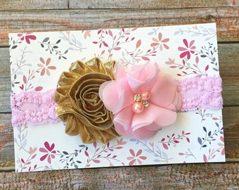Pink and Gold Headband, Pink and Gold Baby Headband, Pink Baby Headband, Baby Headband, Infant Headband, Newborn Headband, Girl Headband